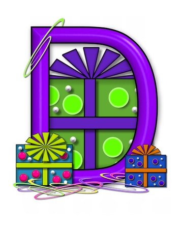 The letter D, in the alphabet set Boxes and Bows, is 3D purple and surrounded by gift boxes.  Colored streamers cover base of letter and boxes. Stock Photo
