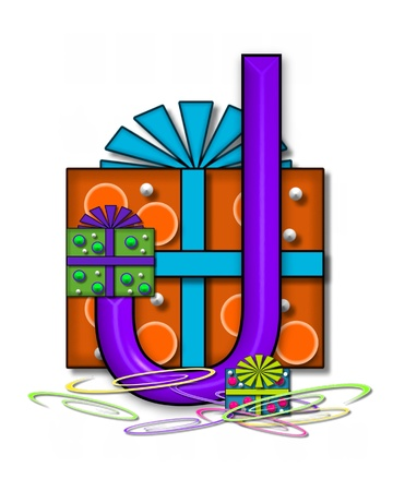 The letter J, in the alphabet set Boxes and Bows, is 3D purple and surrounded by gift boxes.  Colored streamers cover base of letter and boxes. Stock Photo