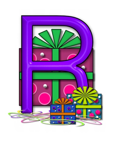 The letter R, in the alphabet set Boxes and Bows, is 3D purple and surrounded by gift boxes.  Colored streamers cover base of letter and boxes. Stock Photo
