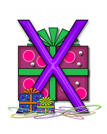 The letter X, in the alphabet set Boxes and Bows, is 3D purple and surrounded by gift boxes.  Colored streamers cover base of letter and boxes. photo