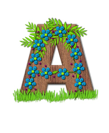 Alphabet letter A, is part of the alphabet set Blooming Vine  Wooden letter has climbing vine decorated with flowers and burgundy dots.  Grass grows around base of letter.