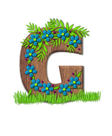 Alphabet letter G, is part of the alphabet set Blooming Vine  Wooden letter has climbing vine decorated with flowers and burgundy dots.  Grass grows around base of letter. Zdjęcie Seryjne