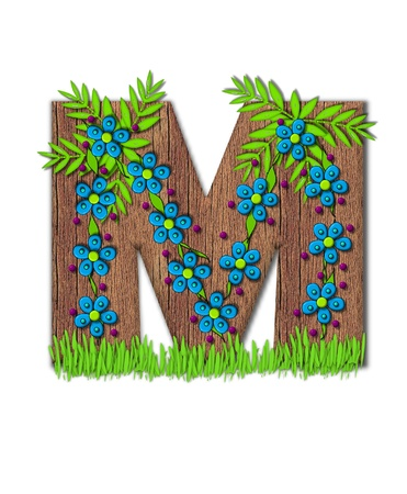 Alphabet letter M, is part of the alphabet set Blooming Vine  Wooden letter has climbing vine decorated with flowers and burgundy dots.  Grass grows around base of letter.