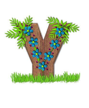 y shaped: Alphabet letter Y, is part of the alphabet set Blooming Vine  Wooden letter has climbing vine decorated with flowers and burgundy dots.  Grass grows around base of letter. Stock Photo
