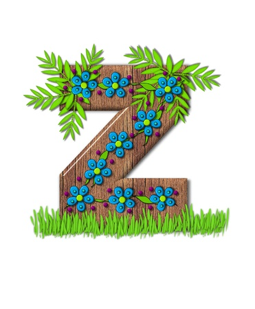 clinging: Alphabet letter Z, is part of the alphabet set Blooming Vine  Wooden letter has climbing vine decorated with flowers and burgundy dots.  Grass grows around base of letter.