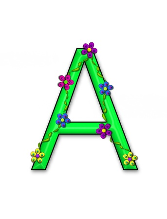 fun  twining: The letter A, in the alphabet set Bursting Blooms, is a green letter.  Flowers, vines and daisies twine around 3D letter in vibrant and fun colors.