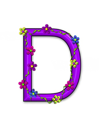 Alphabet letter D, in the set Bursting Blooms is a purple 3D letter.  It is decorated with flowers and blooms climbing the letter in a pallette of bright colors.
