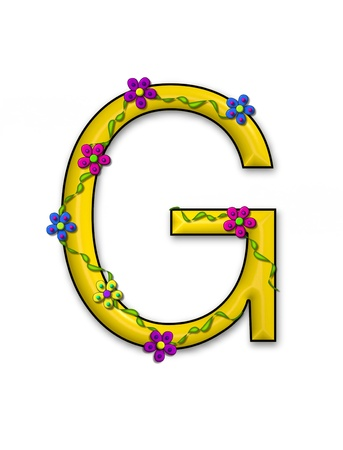 fun  twining: The letter G, in the alphabet set Bursting Blooms, is a yellow letter.  Flowers, vines and daisies twine around 3D letter in vibrant and fun colors.