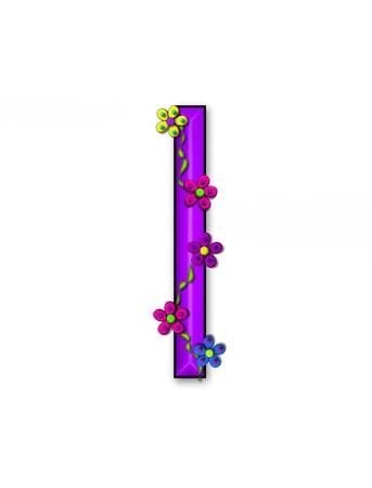 The letter I, in the alphabet set Bursting Blooms, is a purple letter.  Flowers, vines and daisies twine around 3D letter in vibrant and fun colors. Stock Photo