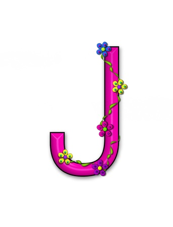 fun  twining: The letter J, in the alphabet set Bursting Blooms, is a pink letter.  Flowers, vines and daisies twine around 3D letter in vibrant and fun colors.