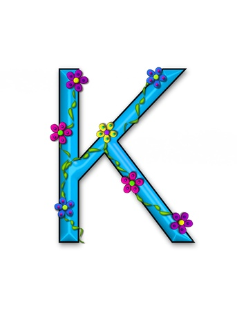 fun  twining: The letter K, in the alphabet set Bursting Blooms, is an aqua letter.  Flowers, vines and daisies twine around 3D letter in vibrant and fun colors.