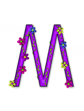 fun  twining: The letter M, in the alphabet set Bursting Blooms, is a purple letter.  Flowers, vines and daisies twine around 3D letter in vibrant and fun colors.