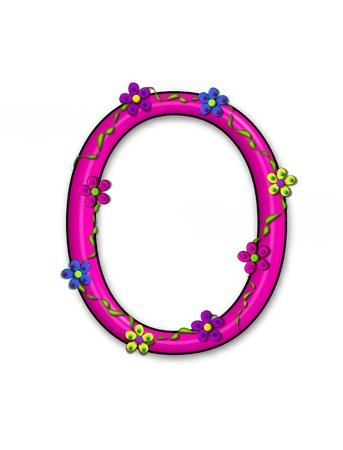 The letter O, in the alphabet set Bursting Blooms, is a pink letter.  Flowers, vines and daisies twine around 3D letter in vibrant and fun colors.