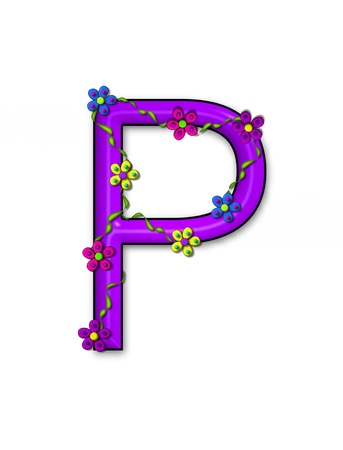 The letter P, in the alphabet set Bursting Blooms, is a purple letter.  Flowers, vines and daisies twine around 3D letter in vibrant and fun colors. Stock Photo - 16320902