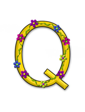The letter Q, in the alphabet set Bursting Blooms, is a yellow letter.  Flowers, vines and daisies twine around 3D letter in vibrant and fun colors.