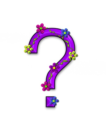 Question Mark , in the alphabet set Bursting Blooms, is purple. Flowers, vines and daisies twine around 3D punctuation mark in vibrant and fun colors.