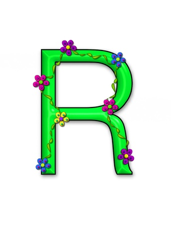 The letter R, in the alphabet set Bursting Blooms, is a green letter.  Flowers, vines and daisies twine around 3D letter in vibrant and fun colors. Stock Photo