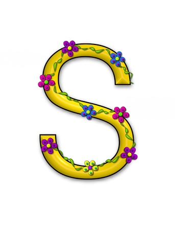 The letter S, in the alphabet set Bursting Blooms, is a yellow letter.  Flowers, vines and daisies twine around 3D letter in vibrant and fun colors.