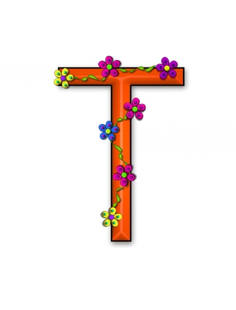 The letter T, in the alphabet set Bursting Blooms, is an orange letter.  Flowers, vines and daisies twine around 3D letter in vibrant and fun colors.