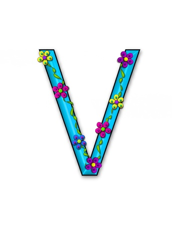 The letter V, in the alphabet set Bursting Blooms, is an aqua letter.  Flowers, vines and daisies twine around 3D letter in vibrant and fun colors. Stock Photo - 16320903
