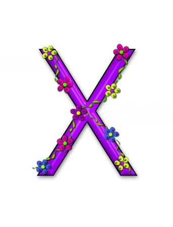 The letter X, in the alphabet set Bursting Blooms, is a purple letter.  Flowers, vines and daisies twine around 3D letter in vibrant and fun colors. photo