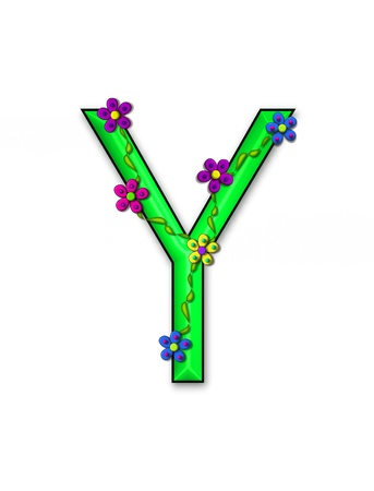 The letter Y, in the alphabet set Bursting Blooms, is a green letter.  Flowers, vines and daisies twine around 3D letter in vibrant and fun colors. Stock Photo