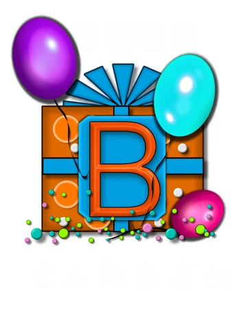 The letter B, in the alphabet set Celebration Party sits on a large tag fastened to a gift wrapped box.  Colorful balloons and confetti finish the party celebration. photo