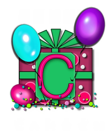 letter c: The letter C, in the alphabet set Celebration Party sits on a large tag fastened to a gift wrapped box.  Colorful balloons and confetti finish the party celebration. Stock Photo
