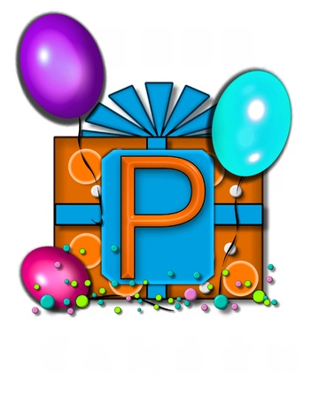 The letter P, in the alphabet set Celebration Party sits on a large tag fastened to a gift wrapped box.  Colorful balloons and confetti finish the party celebration. photo