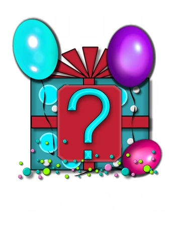floating: Question mark, in the alphabet set Celebration Party sits on a large tag fastened to a gift wrapped box.  Colorful balloons and confetti finish the party celebration.