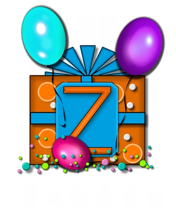 floating: The letter Z, in the alphabet set Celebration Party, sits on a large tag fastened to a gift wrapped box.  Colorful balloons and confetti finish the party celebration.