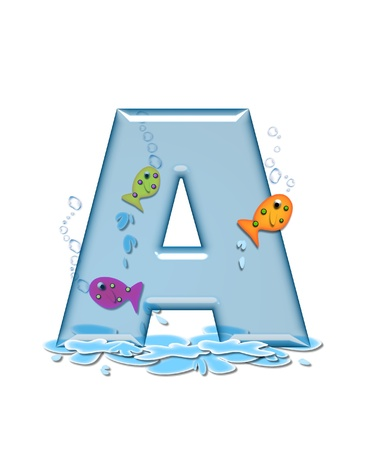 The letter A, in the alphabet set Fish Flop, is aqua in color and transparent.  You can see fish swimming behind letter and in front.  Water forms puddle underneath letter.