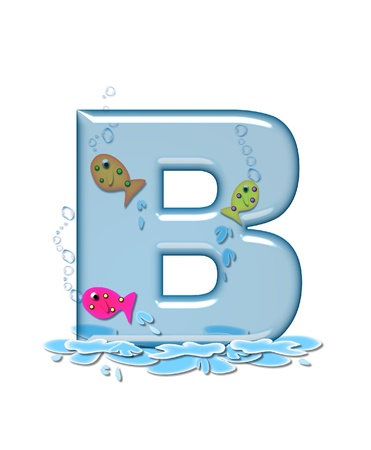 fish type: The letter B, in the alphabet set Fish Flop, is aqua in color and transparent.  You can see fish swimming behind letter and in front.  Water forms puddle underneath letter. Stock Photo