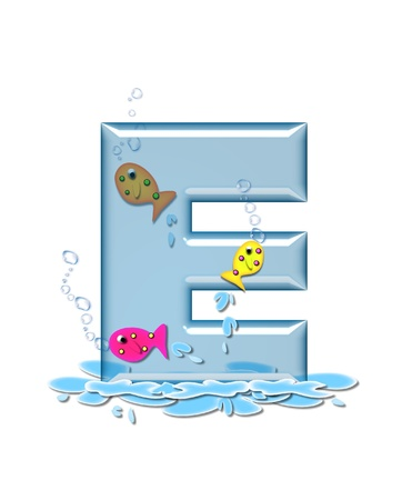 fish type: The letter E, in the alphabet set Fish Flop, is aqua in color and transparent.  You can see fish swimming behind letter and in front.  Water forms puddle underneath letter.