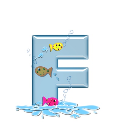 The letter F, in the alphabet set Fish Flop, is aqua in color and transparent.  You can see fish swimming behind letter and in front.  Water forms puddle underneath letter. photo