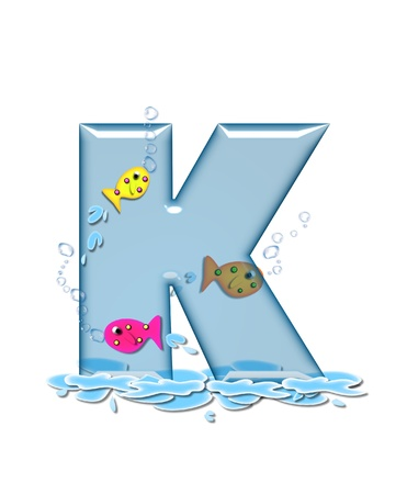 The letter K, in the alphabet set Fish Flop, is aqua in color and transparent.  You can see fish swimming behind letter and in front.  Water forms puddle underneath letter. photo