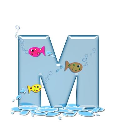 fish type: The letter M, in the alphabet set Fish Flop, is aqua in color and transparent.  You can see fish swimming behind letter and in front.  Water forms puddle underneath letter. Stock Photo