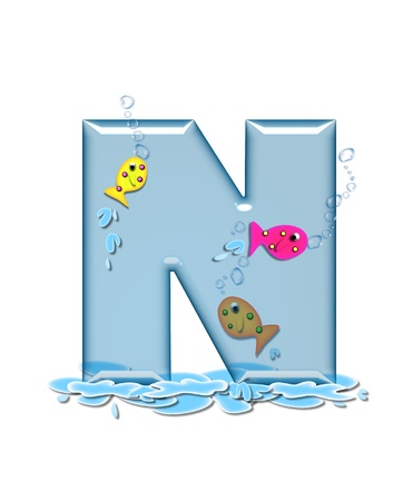 fish type: The letter N, in the alphabet set Fish Flop, is aqua in color and transparent.  You can see fish swimming behind letter and in front.  Water forms puddle underneath letter.