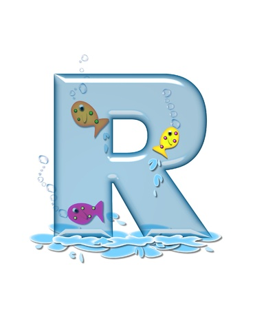 The letter R, in the alphabet set Fish Flop, is aqua in color and transparent.  You can see fish swimming behind letter and in front.  Water forms puddle underneath letter.