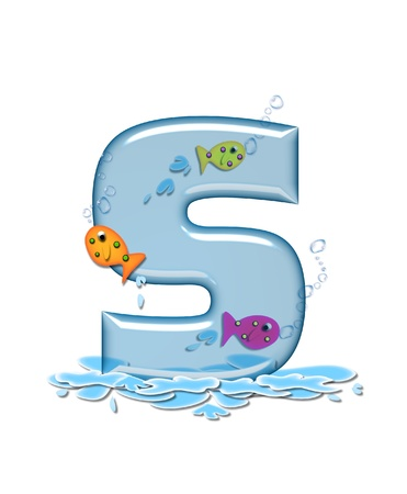 fish type: The letter S, in the alphabet set Fish Flop, is aqua in color and transparent.  You can see fish swimming behind letter and in front.  Water forms puddle underneath letter. Stock Photo