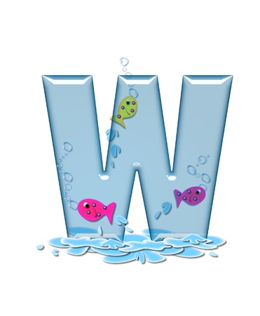 fish type: The letter W, in the alphabet set Fish Flop, is aqua in color and transparent.  You can see fish swimming behind letter and in front.  Water forms puddle underneath letter.
