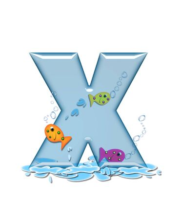 fish type: The letter X, in the alphabet set Fish Flop, is aqua in color and transparent.  You can see fish swimming behind letter and in front.  Water forms puddle underneath letter.