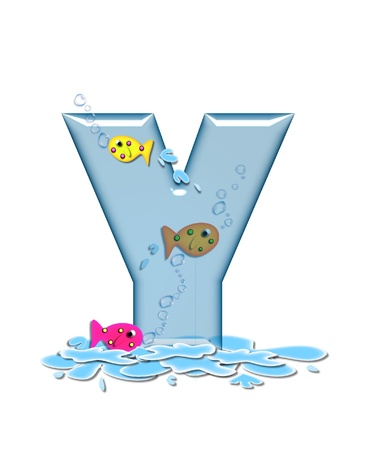 The letter Y, in the alphabet set Fish Flop, is aqua in color and transparent.  You can see fish swimming behind letter and in front.  Water forms puddle underneath letter. photo