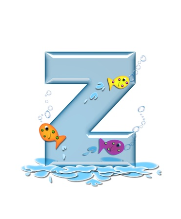 The letter Z, in the alphabet set Fish Flop, is aqua in color and transparent.  You can see fish swimming behind letter and in front.  Water forms puddle underneath letter. photo