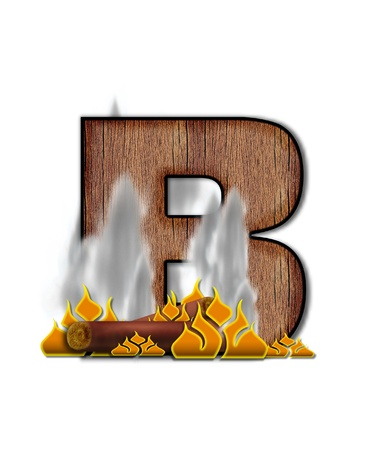 The letter B, in the alphabet set Burning, is created to look like a piece of lumber surrounded by flames and smoke. Wood grained letter is outlined in black.
