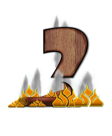 Question Mark, in the alphabet set Burning, is created to look like a piece of lumber surrounded by flames and smoke. Wood grained letter is outlined in black. photo