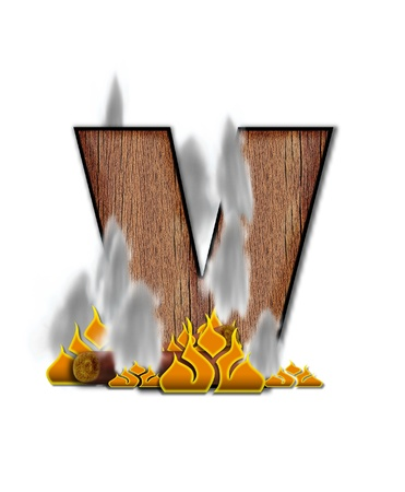 The letter V, in the alphabet set Burning, is created to look like a piece of lumber surrounded by flames and smoke. Wood grained letter is outlined in black. photo