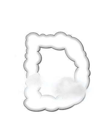 shaped: The letter D, in the alphaet set Cloudy, is shaped like a fluffy cloud.  Whimsical and airy clouds float across its surface. Stock Photo