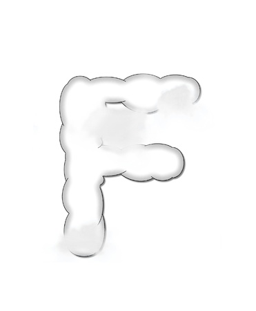 shaped: The letter F, in the alphaet set Cloudy, is shaped like a fluffy cloud.  Whimsical and airy clouds float across its surface.