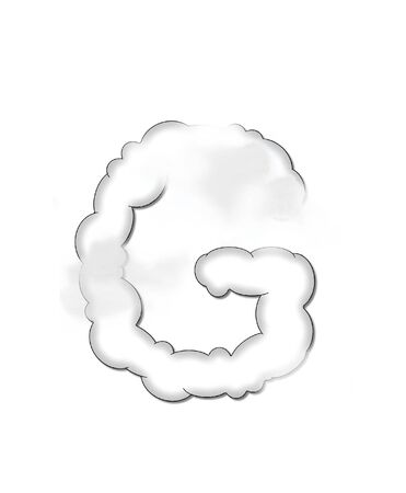 The letter G, in the alphaet set Cloudy, is shaped like a fluffy cloud.  Whimsical and airy clouds float across its surface. Stock Photo - 16320261